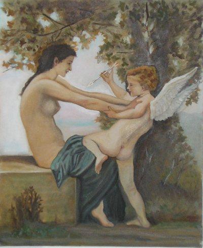 Mujer joven defendiendose de Eros